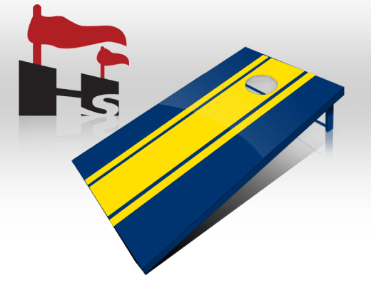 cornhole stripe navy yellow