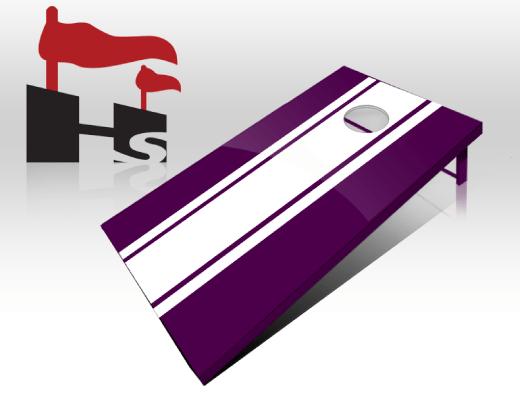 cornhole stripe purple white