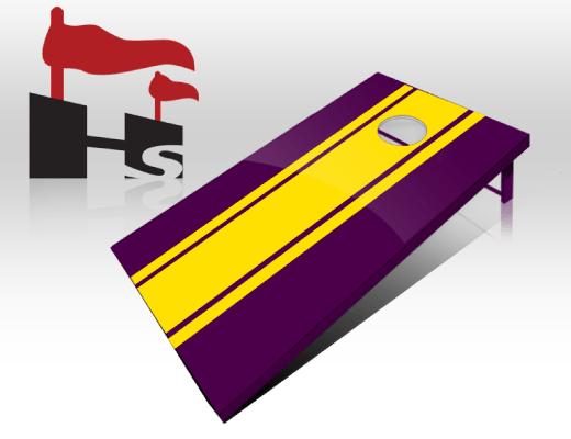 cornhole stripe purple yellow