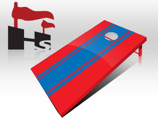 cornhole stripe red royal
