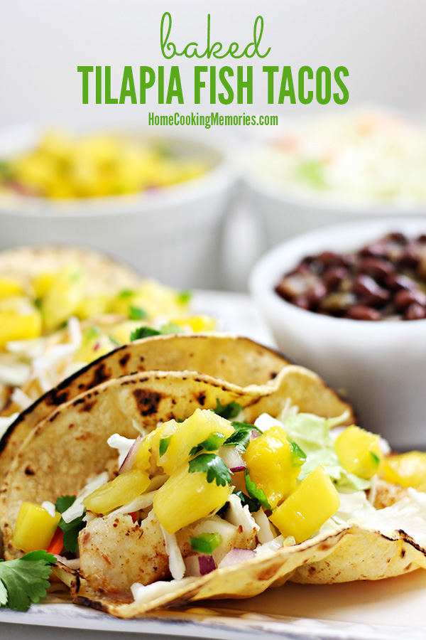 This Baked Tilapia Fish Tacos recipe is a healthy and easy dinner that will take 30 minutes or less to make. The seasoned tilapia fillets are baked in the oven until flaky, then filled into soft tortillas with your favorite toppings. One of our family favorites!