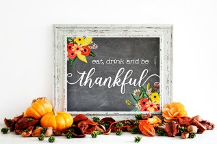 Free Thanksgiving Chalkboard Art: Eat, Drink and Be Thankful