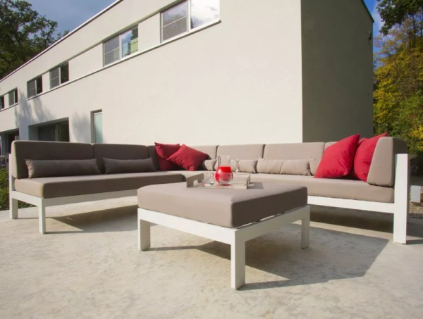 gray white aluminum outdoor sectional