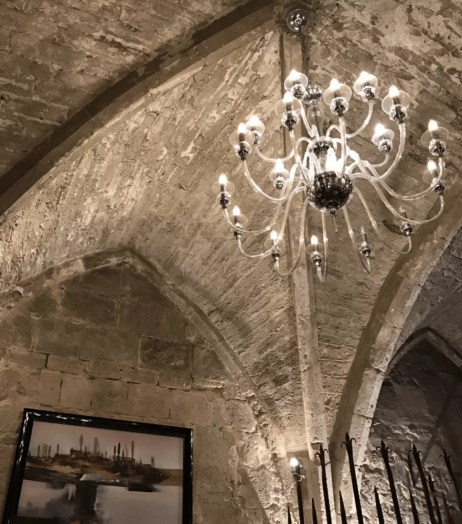 Luxury restaurant historical vaulted stone ceiling chandelier