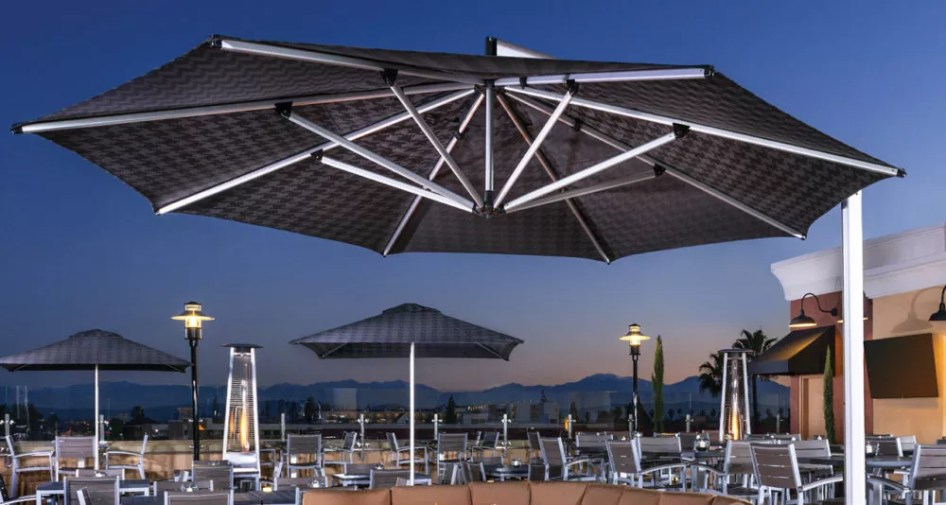 dark gray restaurant pool umbrella