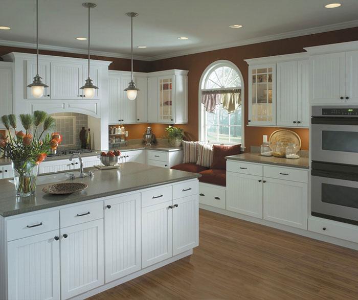 White Beadboard Kitchen Cabinets Homecrest