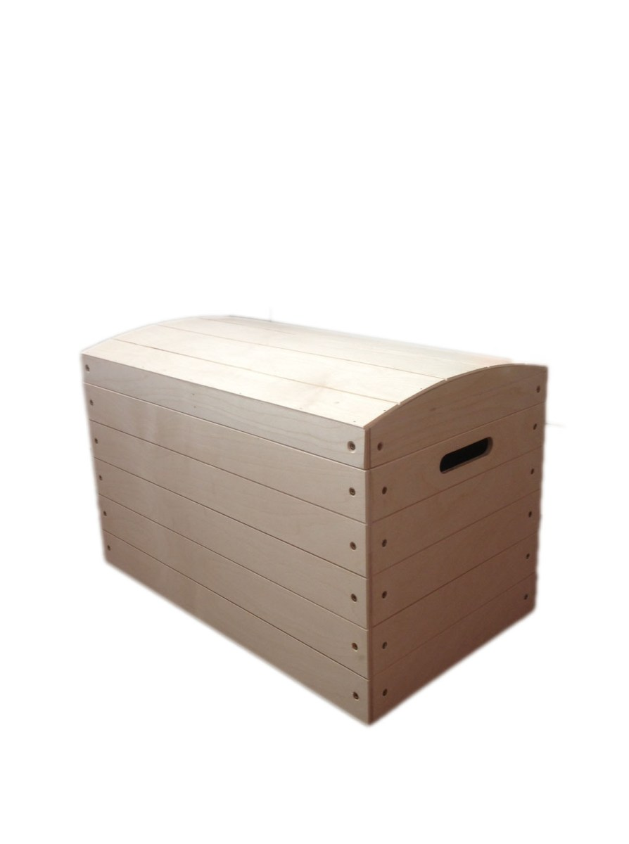 Large Pirate Chest Unpainted Wooden Chest Box Toy Trunk