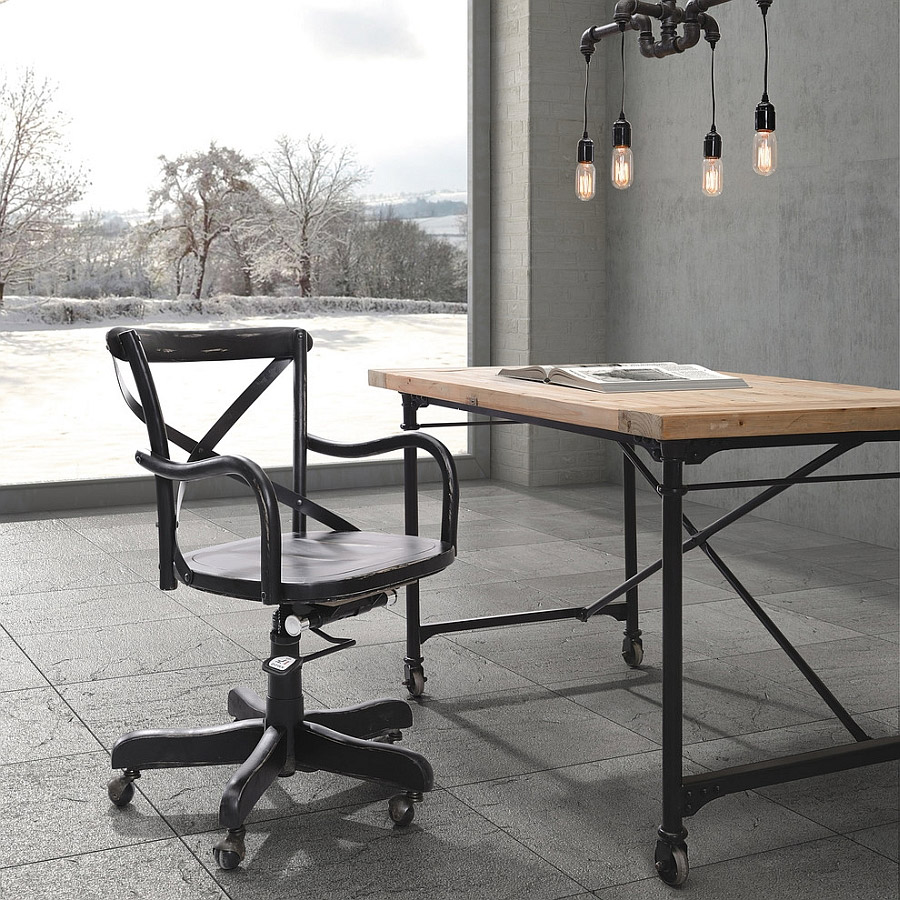 industrial style home office. 2 black iron on grey slate industrial style home office