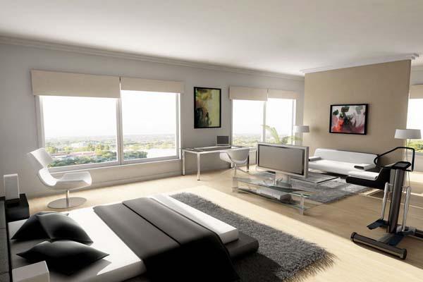 Modern-Men's-Bedroom-Grey-Carpet-And-Floor