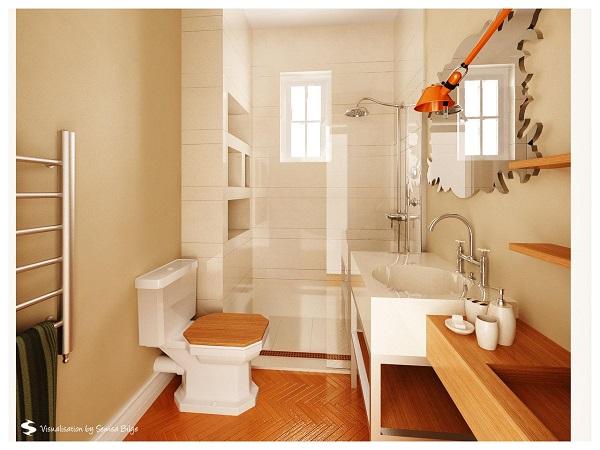 wood wallpaper bathroom design