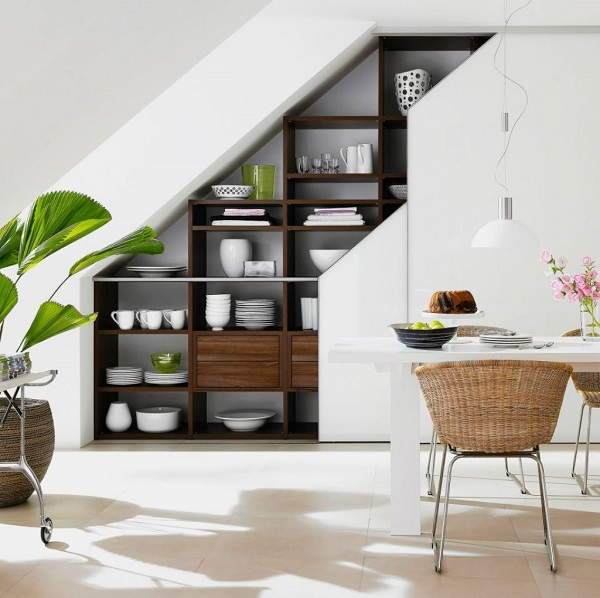 wall storage under the stairs