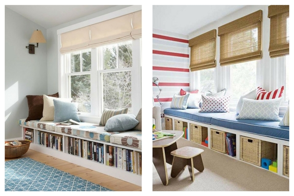 unexpected ways to arrange low bookshelves and window seats