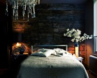 Dark Blue Bedroom with White, Brown, and Black