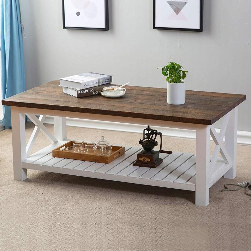 FurniChoi Wood Rustic Coffee Table, Farmhouse Vintage