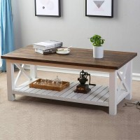 FurniChoi Wood Rustic Coffee Table, Farmhouse Vintage