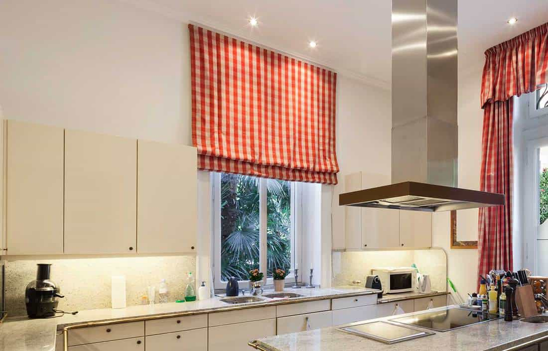 kitchen curtains above the sink