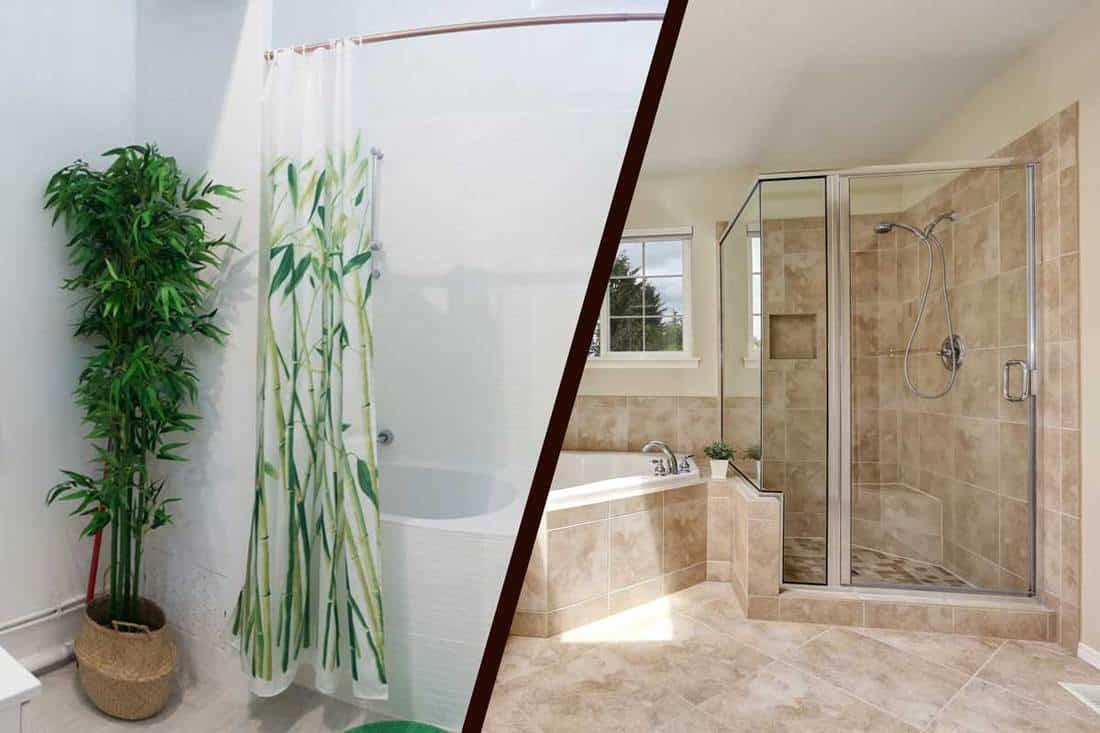 shower curtain vs shower glass doors