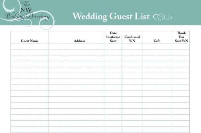 wedding guest list organizer template