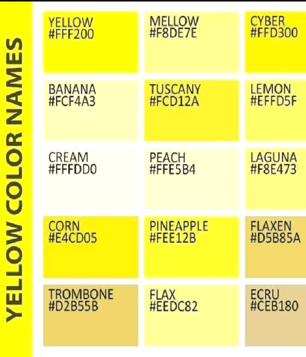 all shades of yellow