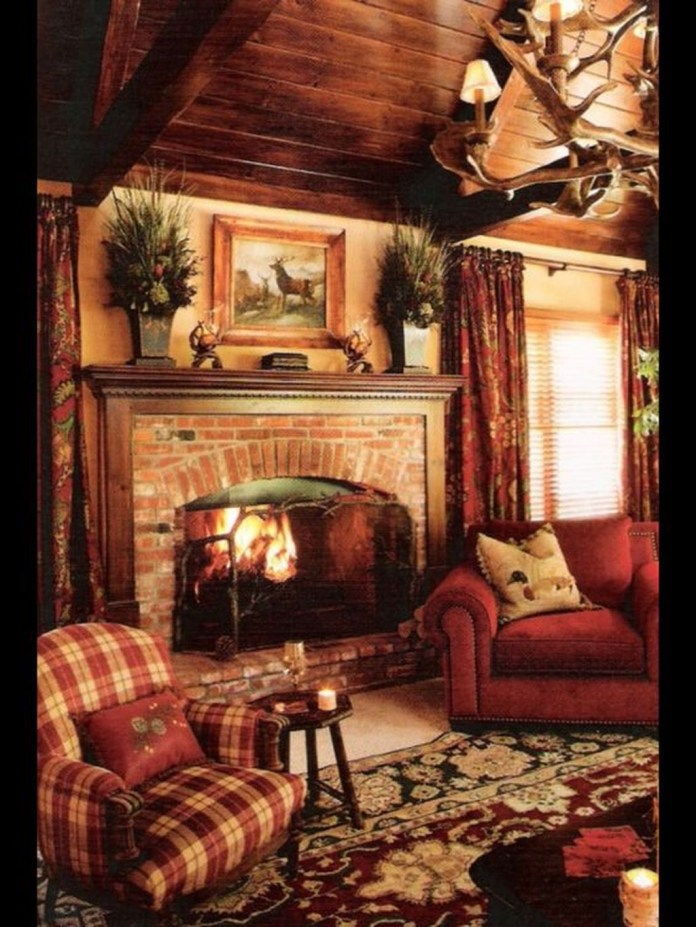 Inspiring Rustic Christmas Fireplace Ideas To Makes Your Home Warmer 19