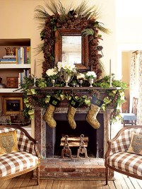 Inspiring Rustic Christmas Fireplace Ideas To Makes Your Home Warmer 67