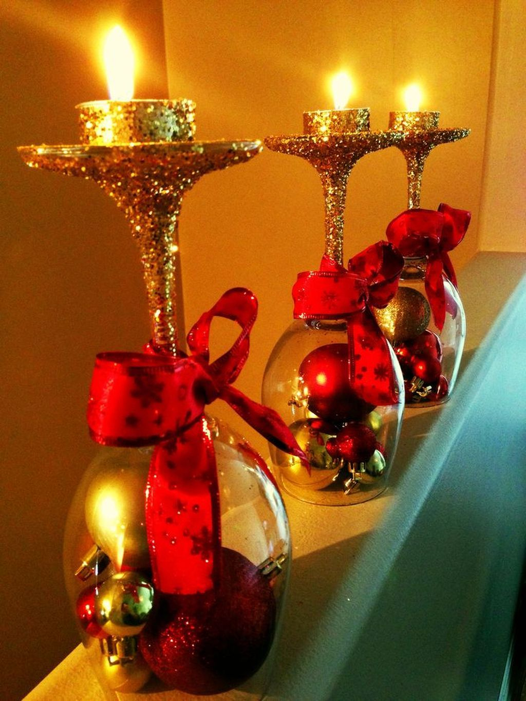 Creative DIY Christmas Candle Holders Ideas To Makes Your Room More Cheerful 27