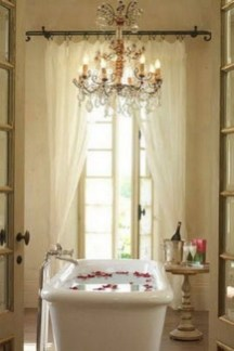 Romantic And Elegant Bathroom Design Ideas With Chandeliers 09