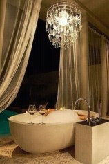 Romantic And Elegant Bathroom Design Ideas With Chandeliers 42