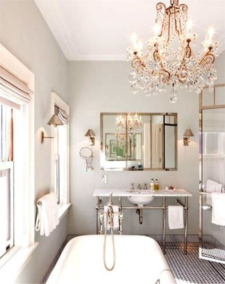Romantic And Elegant Bathroom Design Ideas With Chandeliers 66