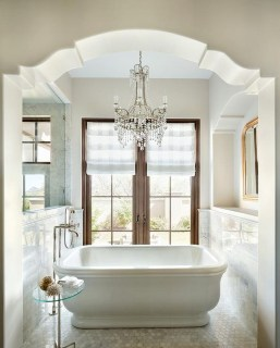 Romantic And Elegant Bathroom Design Ideas With Chandeliers 74