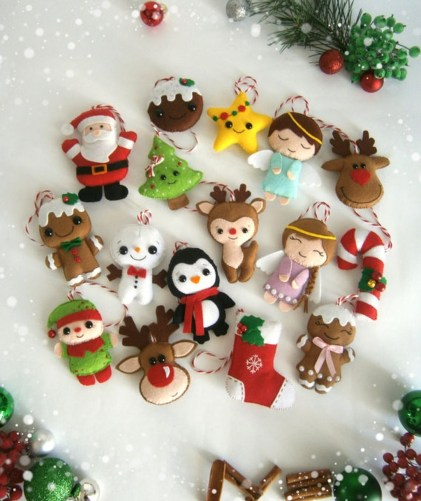 39 Brilliant Ideas How To Use Felt Ornaments For Christmas Tree Decoration 19