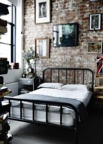 Elegant Rustic Bedroom Brick Wall Decoration Ideas 03