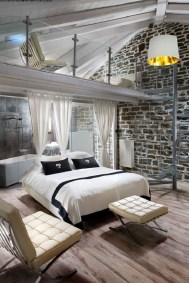 Elegant Rustic Bedroom Brick Wall Decoration Ideas 13