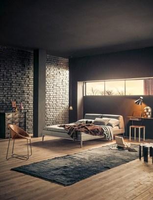 Elegant Rustic Bedroom Brick Wall Decoration Ideas 19