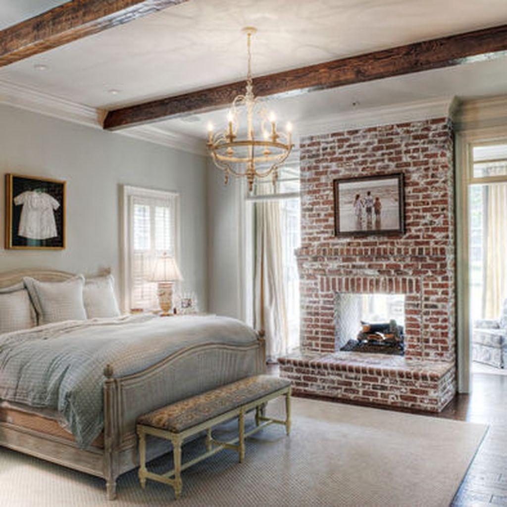 55 Elegant Rustic Bedroom Brick Wall Decoration Ideas