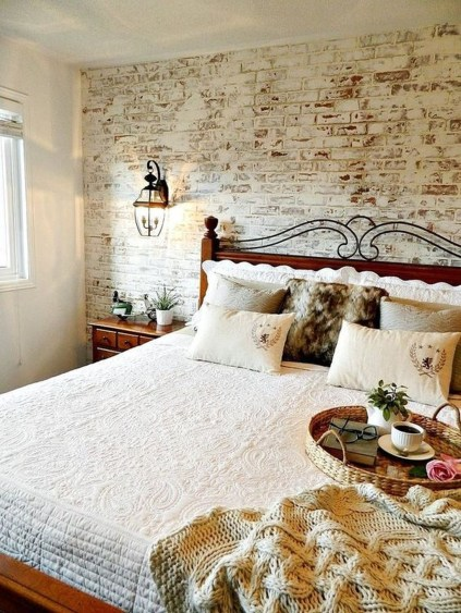 Elegant Rustic Bedroom Brick Wall Decoration Ideas 34