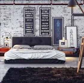 Elegant Rustic Bedroom Brick Wall Decoration Ideas 36