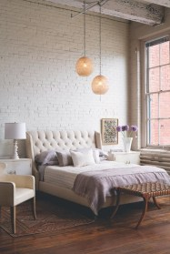 Elegant Rustic Bedroom Brick Wall Decoration Ideas 42