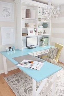 Elegant And Exquisite Feminine Home Office Design Ideas 11
