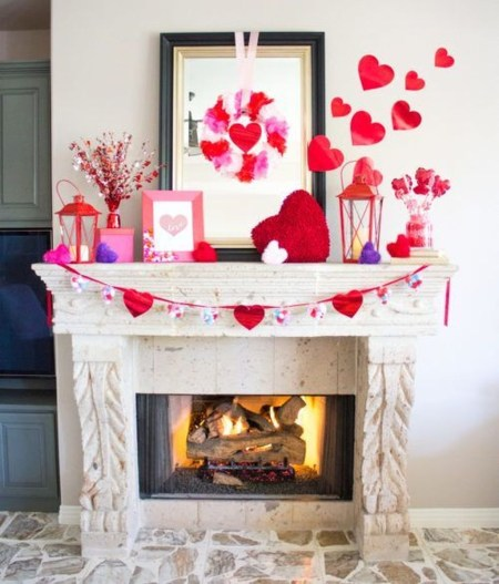 Inspiring Valentines Day Fireplace Decoration Ideas 14