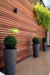 Adorable Wooden Privacy Fence Patio Backyard Landscaping Ideas 01