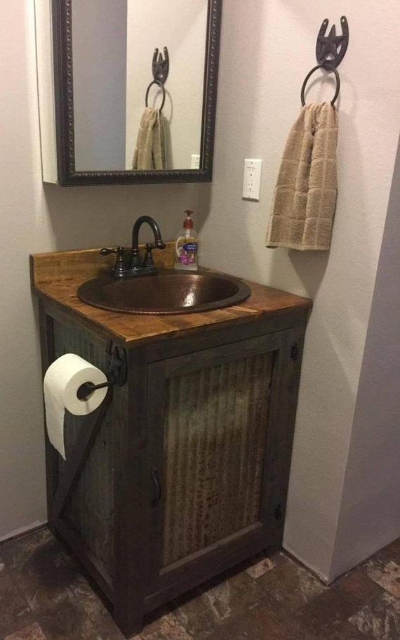 24 Rustic Barn Tin Bathroom Vanity 24 Bathroom Vanity