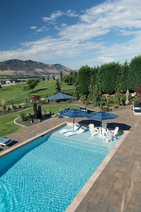 28 Vintage Rectangle Pools Design Ideas With Sun Shelf
