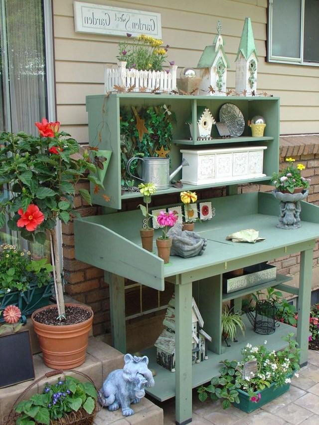38 Charming Outdoor Garden Potting Bench Design Ideas Decorelated