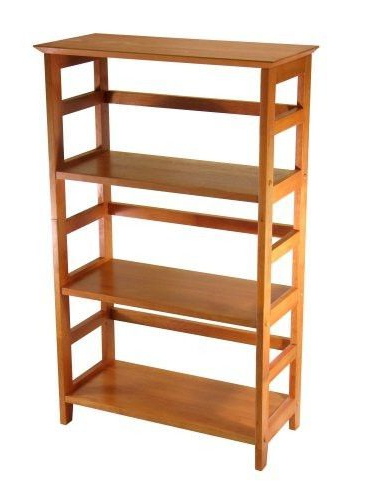 4 Tier Book Shelf Wood Bookcase In Honey Finish Winsome
