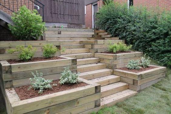 49 Fabulous Backyard Design Ideas On A Budget Abschssiger Garten Gartentreppe Und Garten
