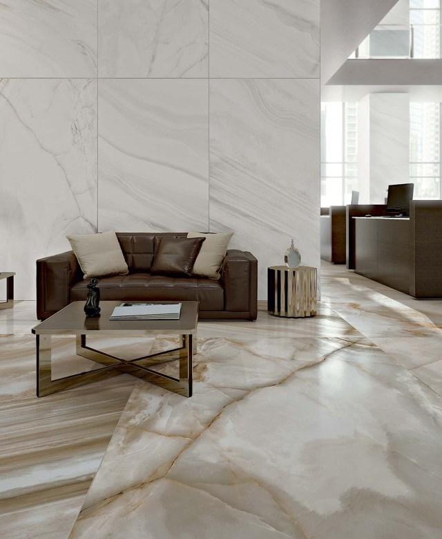 Alabaster Marble Flooring Of Shiny Ceramic Tiles