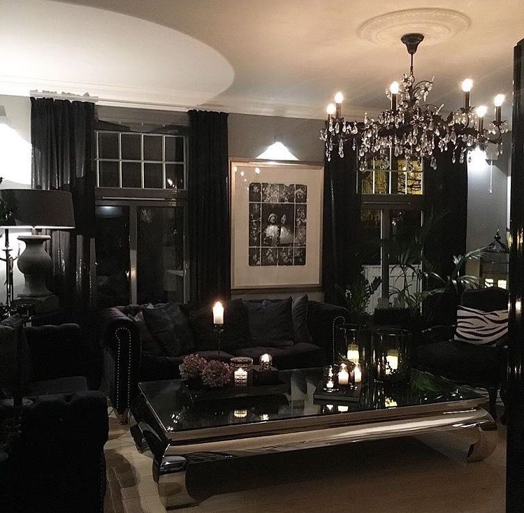 All Black Furniture In Dark Living Room Iamlexlethal