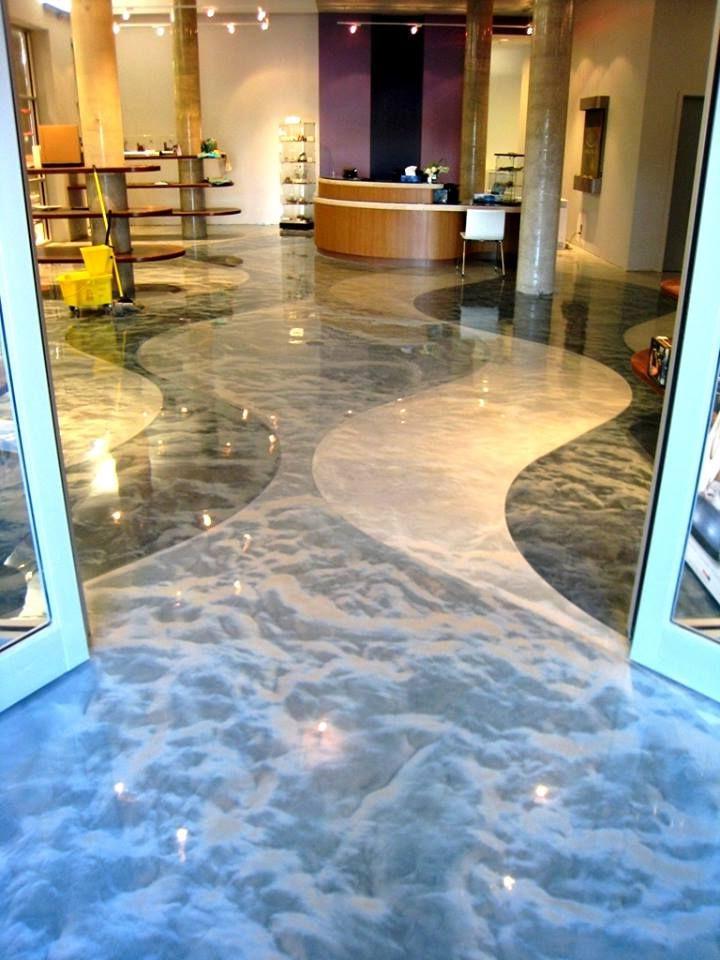 Amazing Decorative Concrete Floor Metallic Colored Epoxy