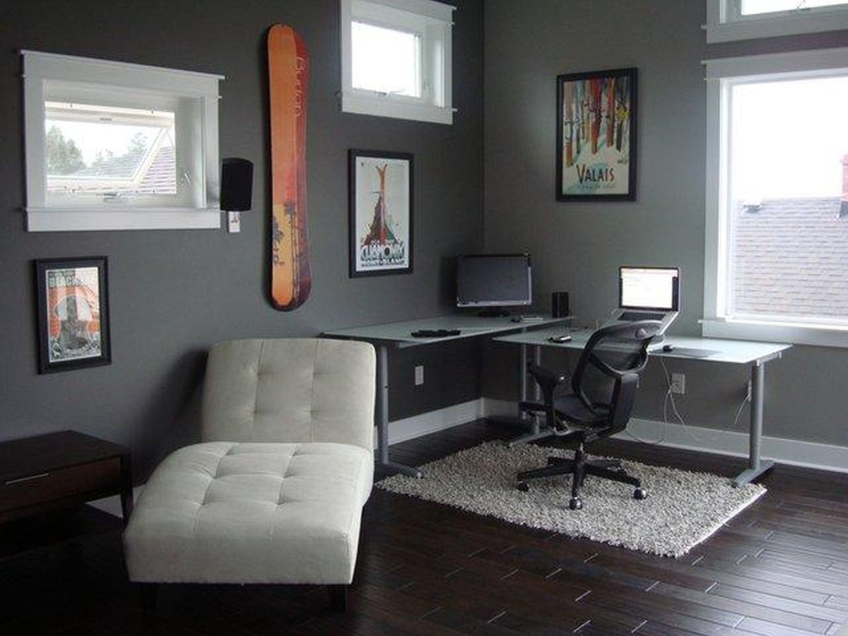 Amazing Grey Office Study Room With Glass Windows Suitable